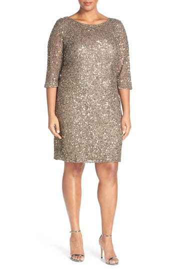 Pisarro Nights Draped Back Beaded Dress (Plus Size)