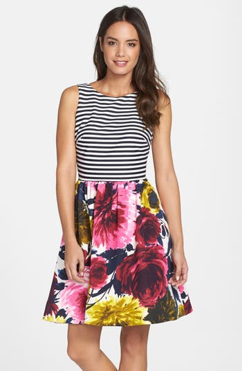 Taylor Dresses Mixed Print Fit Amp Flare Dress Nordstrom