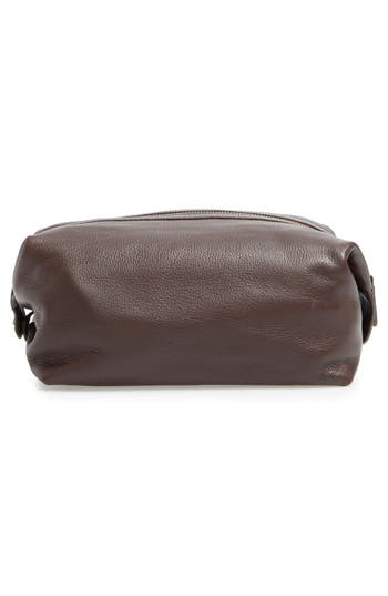Leather Travel Kit,                             Alternate thumbnail 3, color,                             Brown