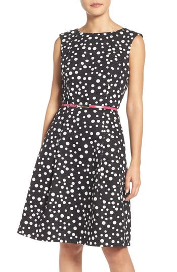 Adrianna Papell Polka Dot Fit Amp Flare Dress Regular