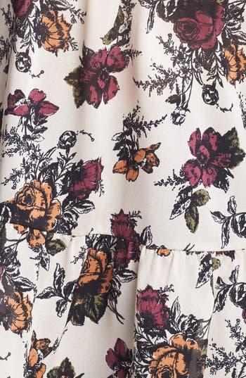Alternate Image 3  - Lily White Floral Print Babydoll Tank (Juniors)