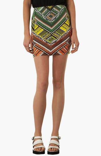 Main Image - Topshop Print Jersey Miniskirt