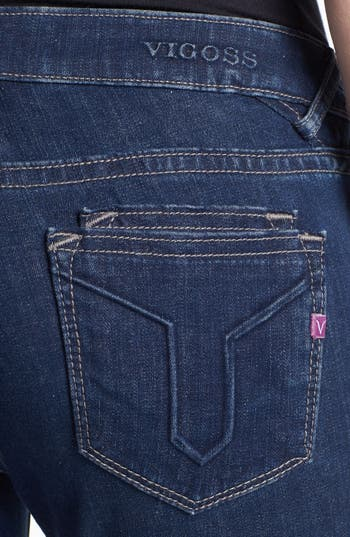 Alternate Image 3  - Vigoss Embossed Pocket Skinny Stretch Jeans (Medium) (Juniors)