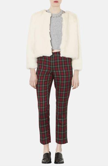 Alternate Image 4  - Topshop Plaid Crop Trousers