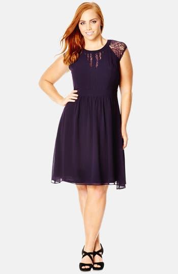 City Chic Dark Romance Lace Detail Dress (Plus Size)