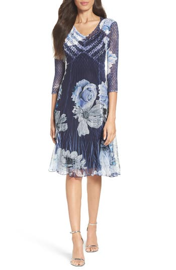 Komarov Orchid Flowers A-Line Dress (Regular & Petite)
