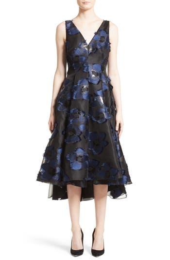 Lela Rose High/Low Metallic Fil Coupé Dress