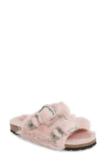 Topshop Falcon Faux Fur Slide Sandal (Women)