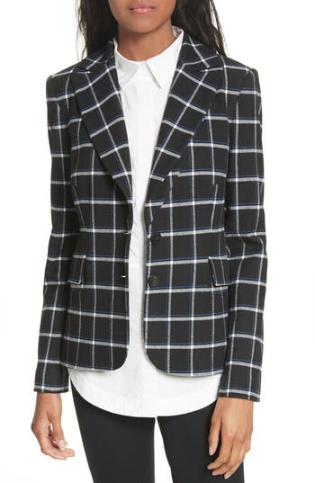 Derek Lam 10 Crosby Elbow Patch Plaid Blazer