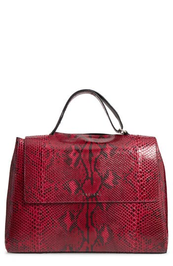 Orciani Large Sveva Diamond Genuine Python Top Handle Satchel
