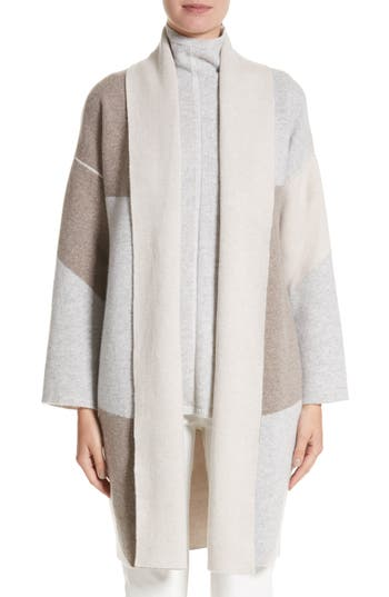 Lafayette 148 New York Stretch Cashmere Reversible Felted Colorblock Cardigan
