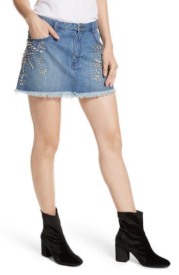 Free People Shine Bright Shine Far Cutoff Denim Miniskirt