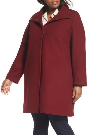 Eliza J Wool Blend Coat (Plus Size)