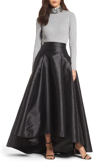 Eliza J High/Low Moiré Taffeta Ball Skirt
