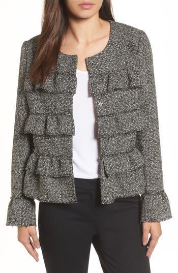 Halogen® Ruffle Detail Tweed Jacket