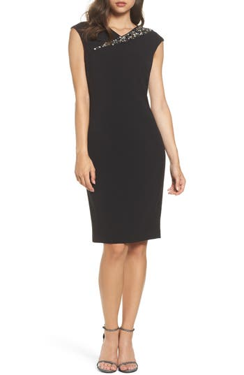 Vince Camuto Embellished Cap Sleeve Crepe Sheath Dress