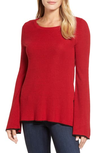 Vince Camuto Tipped Bell Sleeve Sweater (Regular & Petite)