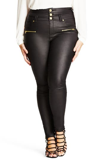 City Chic Skylar Coated Corset Skinny Jeans (Plus Size)