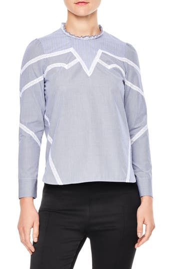 sandro Suzan Check Cotton Blouse