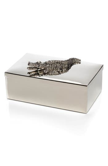 Crocodile Mirrored Jewelry Box by Zodax