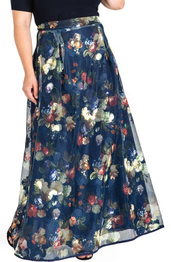 Standards & Practices Iris Floral Mesh Maxi Skirt (Plus Size)