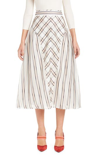 Stripe & Check A Line Silk Skirt by Fendi