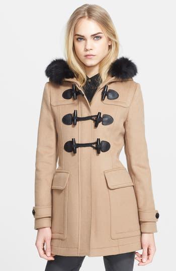Burberry Brit Blackwell Wool Duffle Coat With Genuine