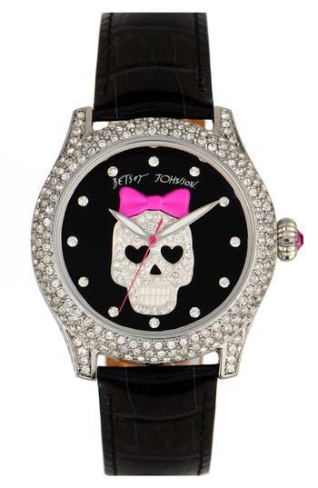 Betsey Johnson Bling Bling Time Skull Dial Leather Strap