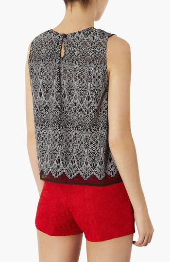 Alternate Image 2  - Topshop Floral Lace Sleeveless Top