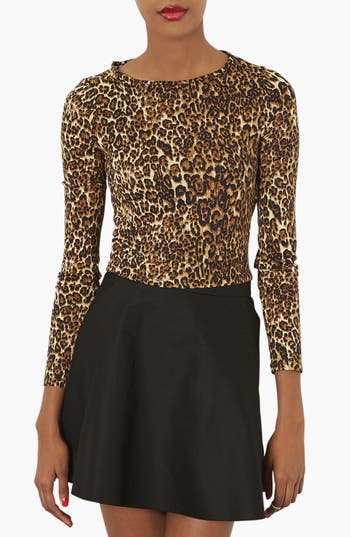 Alternate Image 1 Selected - Topshop Leopard Print Jersey Top
