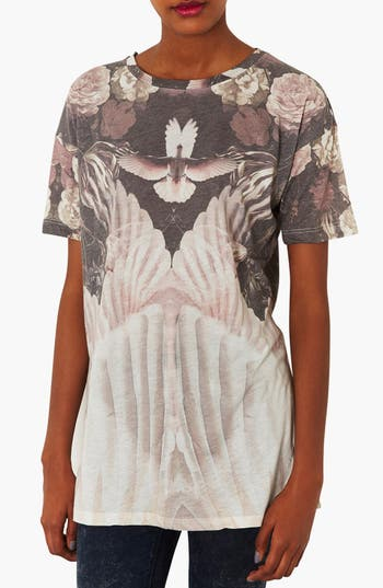 Alternate Image 1 Selected - Topshop Dove & Flower Graphic Tee