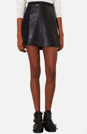 Alternate Image 1 Selected - Topshop Mixed Media A-Line Skirt