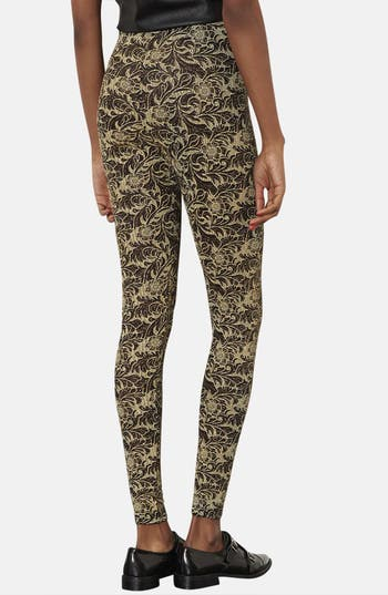 Alternate Image 2  - Topshop Floral Glitter Leggings