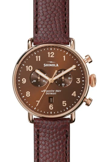 Shinola the canfield chrono leather strap watch 43mm nordstrom for Violet leather strap watch