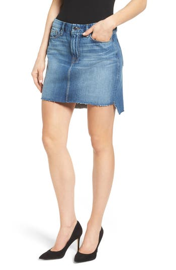 Good American The Stagger High Waist Miniskirt (Blue 032) (Extended Sizes)