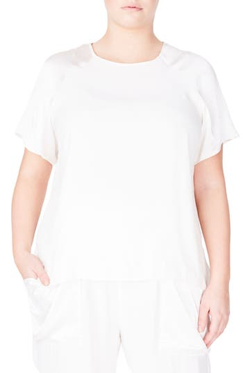 ELVI Embellished Metallic Sleeve Top (Plus Size)
