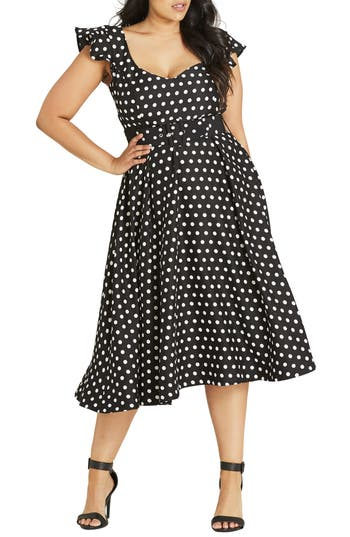 City Chic Flutter Spot Belted ..