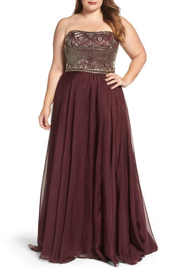 Mac Duggal Beaded Bodice Strapless Chiffon Gown (Plus Size)