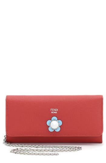 Fendi Flowerland Leather Continental Wallet
