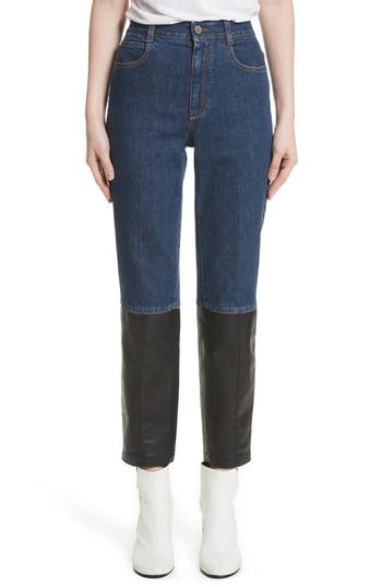 Stella McCartney Alter Leather Trim High Waist Straight Leg Jeans