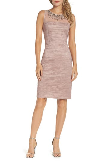 Eliza J Metallic Sheath Dress (Regular & Petite)