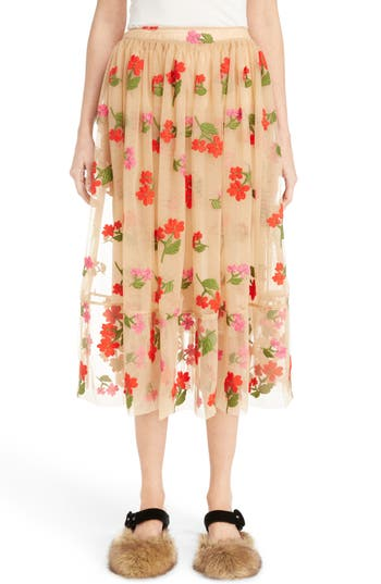 Simone Rocha Smocked Waist Embroidered Tulle Skirt