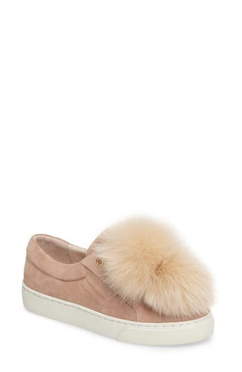 Here/Now Kim Genuine Fox Fur Poms Sneaker (Women)
