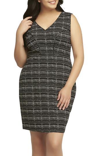 Tart 'Viera' Piped Detail V-Neck Sheath Dress (Plus Size)