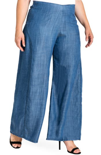 Standards & Practices Perry Tencel® Denim Palazzo Pants (Plus Size)