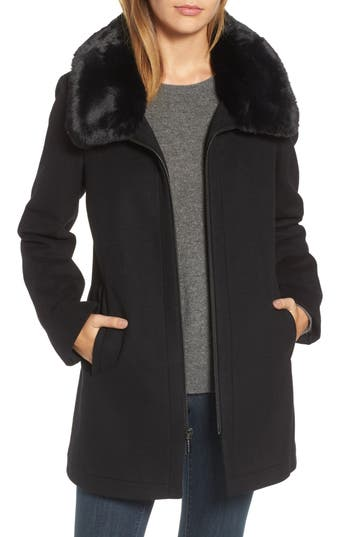 MICHAEL Michael Kors Wool Blend Coat with Faux Fur