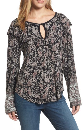Lucky Brand Mixed Floral Ruffle Top