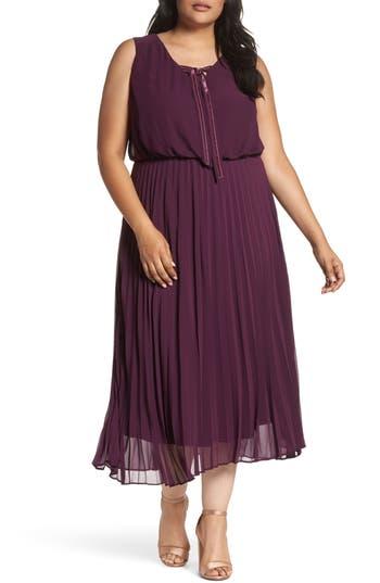 Sangria Pleat Midi Dress (Plus Size)