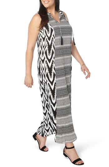 Evans Mixed Print Tie Neck Maxi Dress (Plus Size)