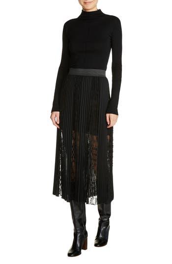maje Lace Inset Pleated Midi Skirt
